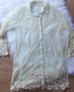 Antica Sartoria Size 1 Lace Button Up Bohemian